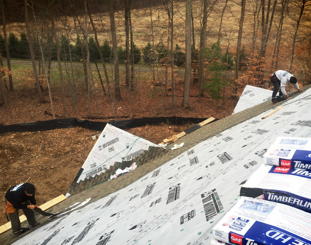 Asphalt Shingle Roof In Middle Of Replacement Using GAF Timberline Shingles